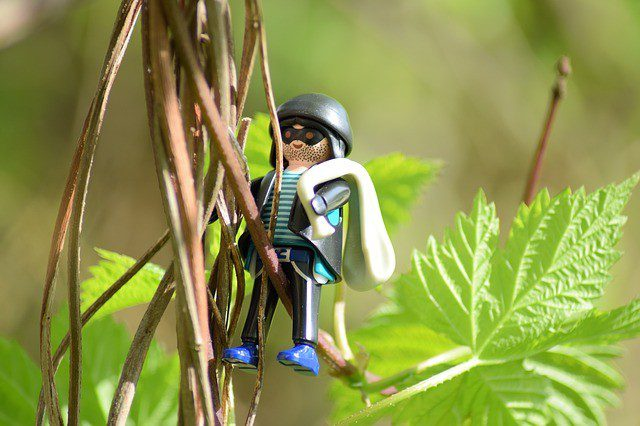 Lego man thief climbing a tall green plant